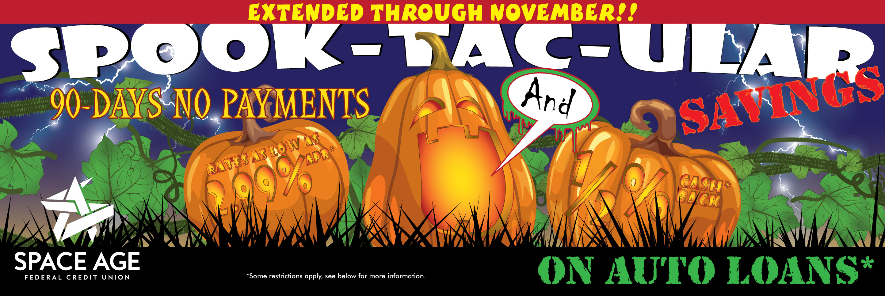 October Events at Space Age - Halloween and Credit Union Day